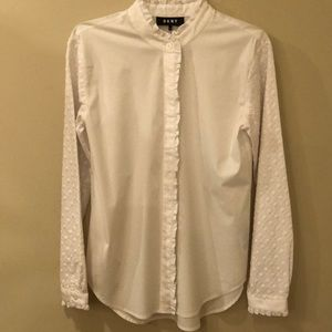 DKNY women's white eyelet button long sleeve shirt